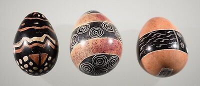 Vintage African Stone Collectible Egg Lot of 3 Kenya Handcrafted Hand Painted
