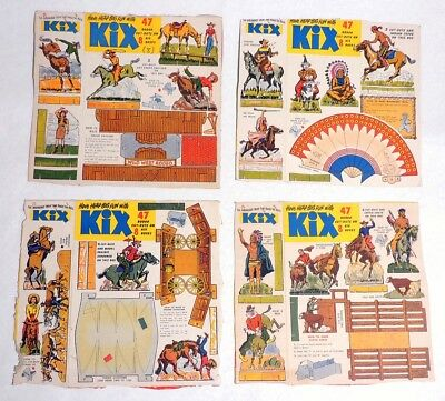 P423. Vintage: KIX Rodeo Cut-Out Cereal Box Flat Clipping General Mills (1950s)[