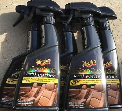 LOT OF 5 Meguiar's G10916 Gold Class Rich Leather Cleaner & Conditioner 15.2 oz.