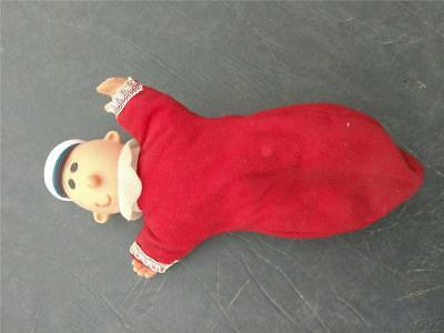 """Sweet Pea Popeye Doll  9"""" 1979 King Features Red Pajamas Soft  Plastic Head"""