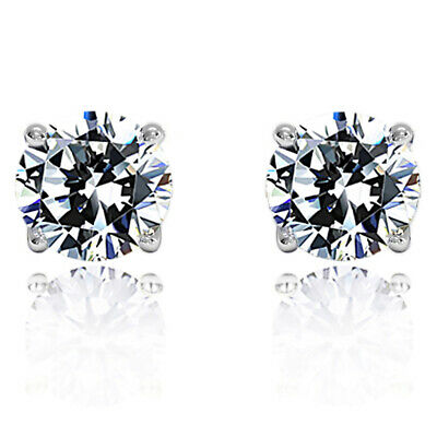 Fine 1 Carat Diamond Solid 14K White Gold 5.1mm Round Solitaire Stud Earrings