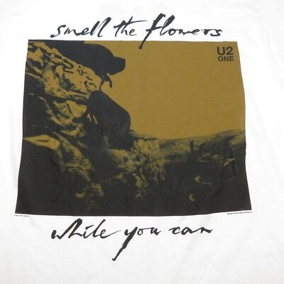 NEW U2 ONE SMELL THE FLOWERS WHILE YOU CAN CONCERT TOUR TEE T SHIRT Sz L Bono