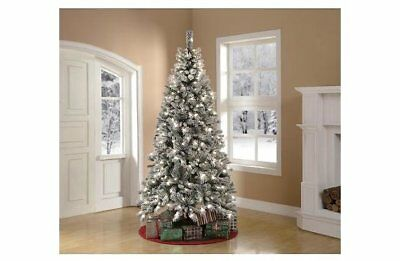Holiday Time Christmas Tree.Holiday Time Pre Lit 7 5 Flocked Winter Frost Pine Artificial Christmas Tree