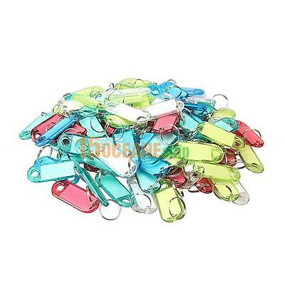 100 Pcs Colorful Clear Plastic Key Tags ID Label with Key Chain Ring Tag Card