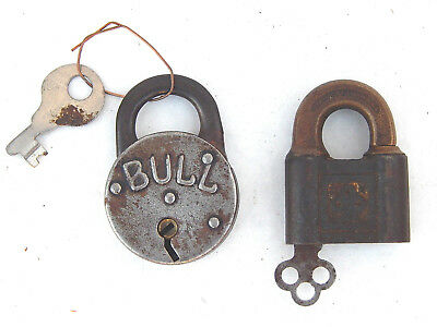 Antique Collection of 2 Pad Locks with Keys Yale & Bull Dog