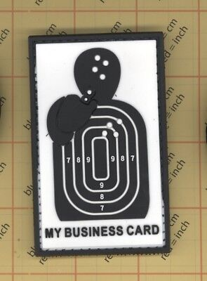 MY BUSINESS CARD PVC Morale Patches Hook and Loop Target Shooting Black White