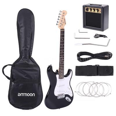 Full Size Beginner Electric Guitar Kit Black with Amp & Accessories Free Ship US