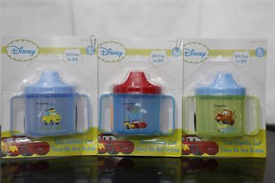 3x Disney Cars Luigi, Mater & Lightning McQueen Sippy Cup BPA FREE Plastic