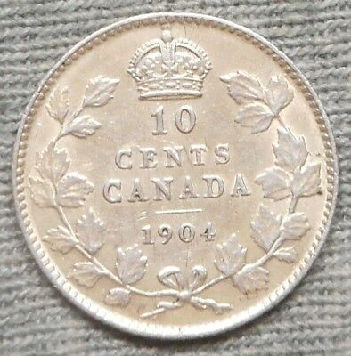 Nice 1904 Canada 10 Cents Silver Coin - KM# 10
