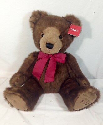 FAO SCHWARZ 16 inch Two Tone Bear   Light Brown and Dark Brown New Rare