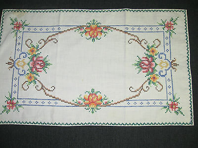 vintage linen doily embroidered cross stitch rose flower border table centre mat