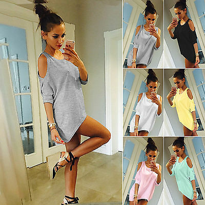Women's Cold Shoulder Loose T-Shirt Blouse Summer Long Plus Size Shirts Tee Tops
