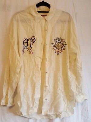 Adele Palmer Shirt embroidered luxe gold vintage cream purple medium M