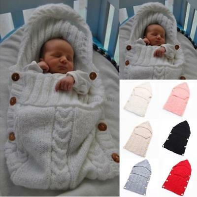 Newborn to 12M Baby Thermal Blanket Knitted Swaddle Soft Sleeping Bag Sack Wrap