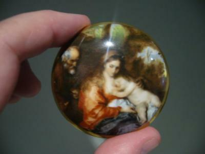 Crown Staffordshire England 'flight Into Egypt'  Miniature Trinket Box - Vgc
