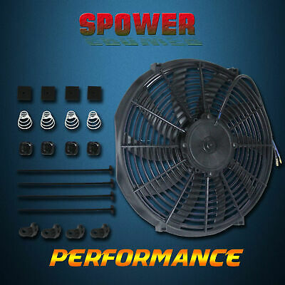 "16"" Inch 180W Electric Radiator Cooling Thermo Bow Blade Fan With Mounting Kits"