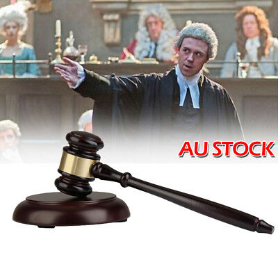 Wooden Handcrafted Gavel Hammer + Sound Block for Lawyer Judge Auction Sale AU