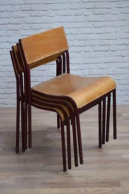 Set Of 4 Vintage Industrial Dark Red 'Shepherd' Cafe Bar Dining Chairs
