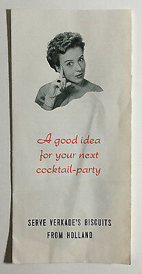 Verkade's Biscuits Vintage Foldout Advertising Brochure Cocktail Party Holland