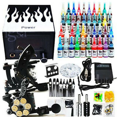 Professional Complete Tattoo Kit 2 Top Machine Gun 40 Ink Power Supply Needle