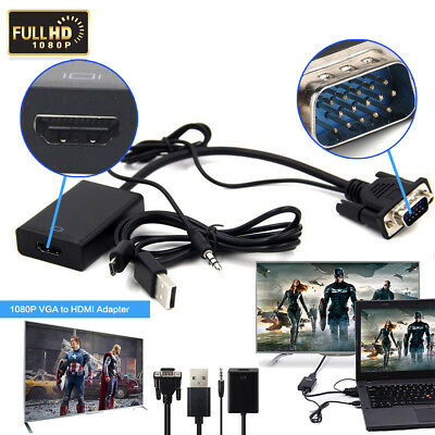VGA to HDMI Video Adapter Cable Converter USB Audio HD 1080P for Laptop PC DVD