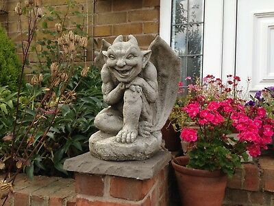 (New) Smiler Gargoyle With Wings ,Garden Concrete Stone Gargoyles,With Wings