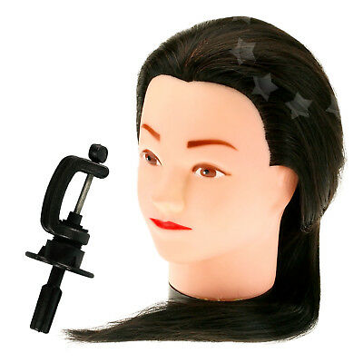 "18"" 50% Real Hair Practice Training Head Mannequin Hairdressing Doll & Stand Set"