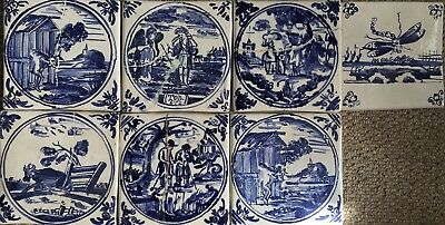 "Seven Reproduction Delft tiles 5""' square"