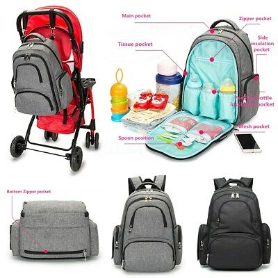AU Waterproof Nappy Diaper Backpack Baby Mummy Changing Bag Pram Hanging Bag New