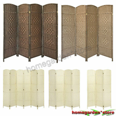 3 / 4 / 6 Folding Hand Made Wicker Home Decor Room Divider Solid Weave Separator
