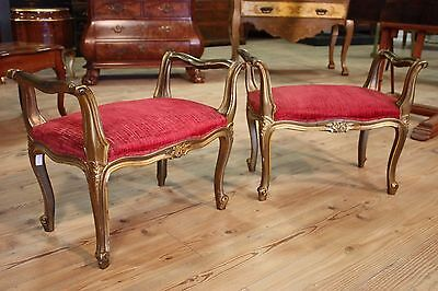 Pair of benches venetian antique style furniture stools footstools in wood 900