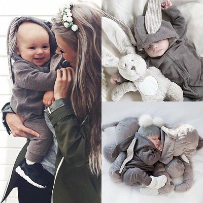 Newborn Infant Baby Girl Boy Rabbit Ear Hooded Romper Bodysuit Jumpsuit Clothes