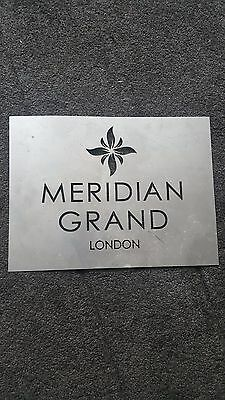 Old Metal Stencilled Meridian Grand London Hotel Sign Reclaimed
