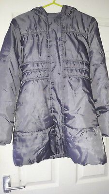 Gorgeous Girls Grey Padded Long Winter Coat By M&s - Age 9-10Yrs - N2