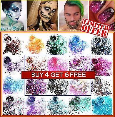 Mixed Chunky Glitter Pots Body Art Flake Tattoo Nail Hair Eye Lip Disco Manicure