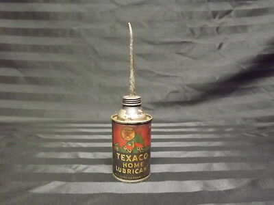 "VTG 6.5"" Texaco Home Lubricant 3 oz Oil Can Thumb Oiler Tin Round Great Graphics"