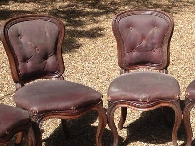 Pair of Antique Leather Victorian French Louis Style Dining Chairs *PROJECT*