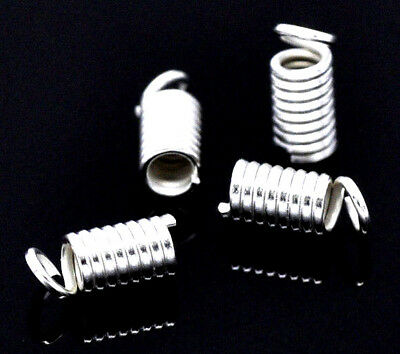 200 x Silver Plated Spring Coil Cord End Crimp Fasteners 9x4mm (50390)