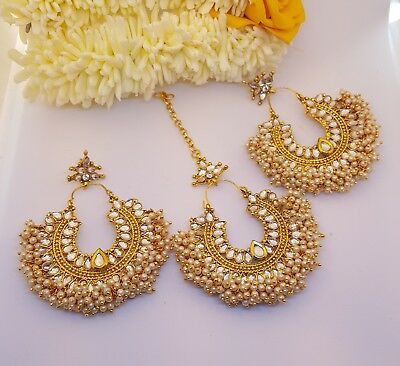 *UK SELLER*Golden Kundan bollywood indian Tikka earring Fashion Bridal Jewellery