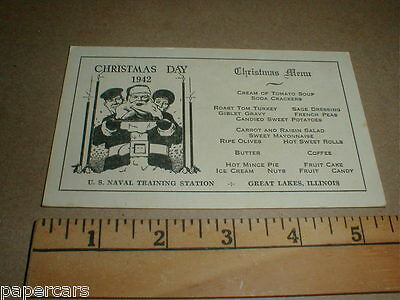 US Naval Navy Great Lakes illinois IL 1942 Christmas Menu vintage WWII postcard