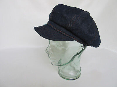Denim Spitfire Cap US Army Nose Art Vintage Marines WWII Rockabilly Baker Boy
