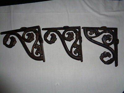 Antique Circa 1880 Heavy Cast Iron Shelf Brackets Victorian Ornate  Three