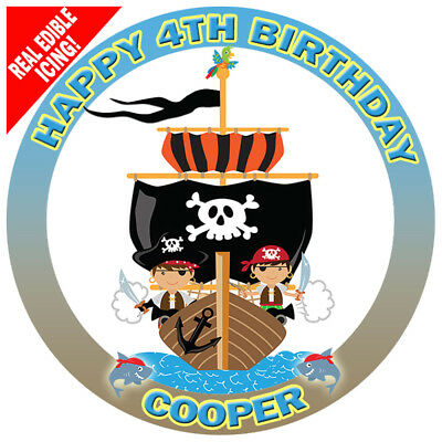 Pirate Ship Edible Icing Cake Image Party Personalised Decoration Topper