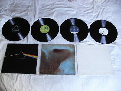 1970s RECORDS ALBUMS LP COLLECTION PINK FLOYD DARK SIDE OF THE MOON MEDDLE WALL