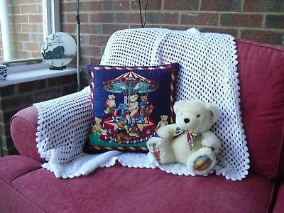 Hand Stitched Teddies On A Roundabout Quilted Cushion Cover