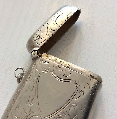 Nice Antique Edwardian 1907 Solid Silver Vesta Match Case - Maker J.G.