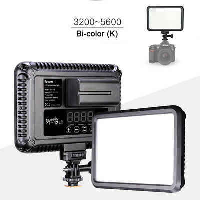 DSLR PT-12B 12W LED Photo Video Light Panel Bi-color with Touch Switch 1200LM