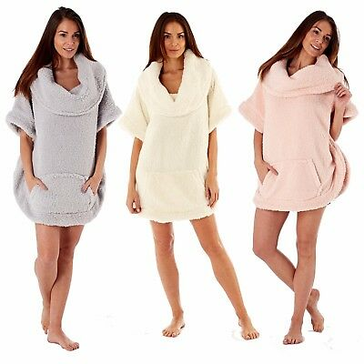 Ladies Womens Snuggle Top Poncho Bed Jacket Luxury Super Soft Sherpa Fleece 8-18