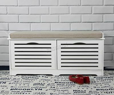 FoxHunter Shoe Storage Bench 2 Drawers Padded Seat Stool Cabinet MDF SB04 White