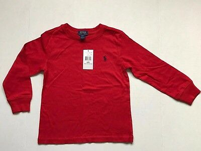 Nwt Polo Ralph Lauren Boy's Toddler 4/4T Long Sleeve T.shirts Red